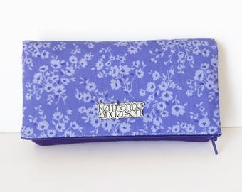 Women's Wallet Clutch with Fold Over Flap, Card Slots and Zippered Coin Compartments in Purple Floral