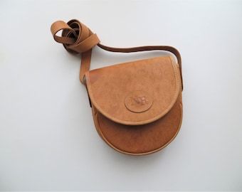 80s Tan Leather Purse, Crossbody Bag, Small Travel Satchel, NR Label