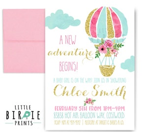 HOT AIR BALLOON Baby Shower Invitation Adventure Invitation Girl hot air balloon Baby shower invitation Hot air balloon Gold Pink Girl