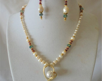 Striking Rubies Pearls Gold Heart Pendant Necklace*******.