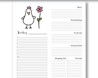 Silly Chickens, Printable Planner, Digital Download Printable Daily Planner