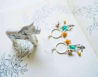 Colourful, Pop, Fun Chandelier Earrings with Peaceful Dove