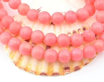 16 Inch  Pink  Sea  Coral  8MM  Round Bead ,  Semi Precious Gemstone Beads