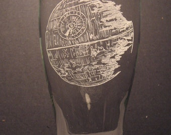 "Death Star inspired pilsner glass Engraved Glass ""PICK YOUR STYLE"""