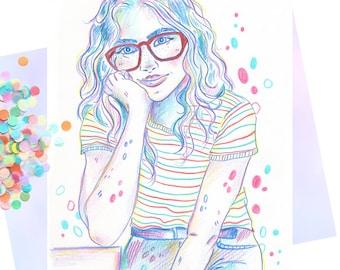 "Artprint signed ""Girl IV"""