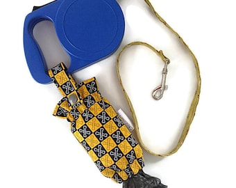 Dog poop bag holder dispenser for individual bags/pet accessory/yellow and black bone pattern/dog training/dog walk/for retractable leash