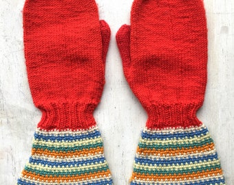 Vintage Hand Knit Mittens, Red with Multi-Color Striped Accents, Adult Mittens, Vintage Winter Mittens, Knit Gloves, Mid Century Fashion