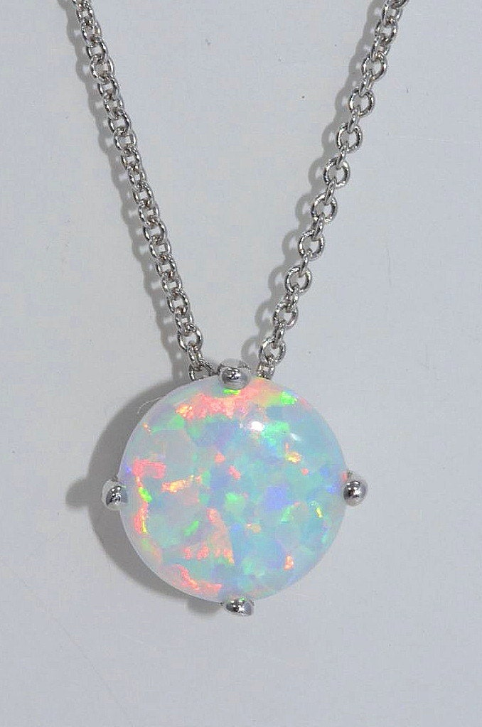 Opal round pendant 925 sterling silver rhodium finish zoom aloadofball Image collections