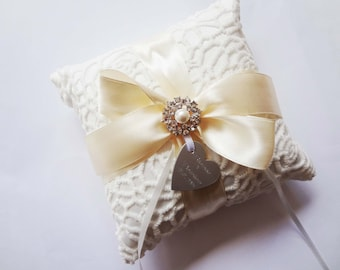 Personalised Satin Wedding Ring Bearer Pillow - Choose your colour