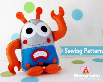 Robot Sewing Pattern, Robot Plush Toy Pattern,  PDF Sewing pattern A1132