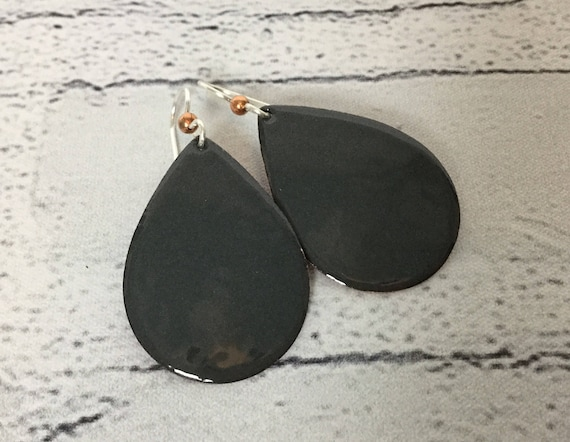 "Handmade Solid Gray Enameled Copper Sterling Silver Teardrop Earrings 1.75"" Professional Office Accessories Metalsmith #J22"