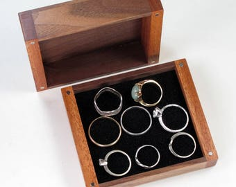 Wooden Jewelry Box Large Enough for Several Rings, Black Walnut Wood, Mahogany Wood