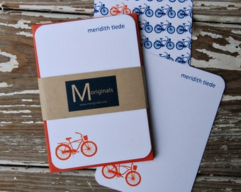 Personalized Notecards - Set of 8 - Bicycle Notes