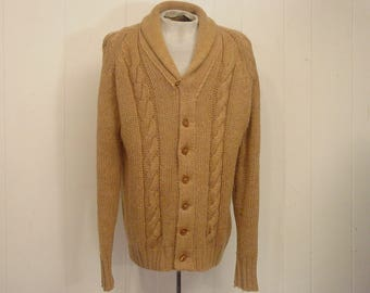 Vintage sweater, 1960s sweater, cable knit sweater, shawl collar sweater, vintage cardigan, vintage clothing, XL