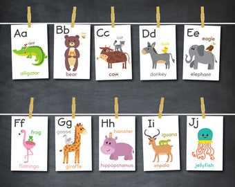 Alphabet flash cards, Animal alphabet card set, ABC Card set, ABC flash cards, Printable, Nursery wall art, Nursery Decor, Digital