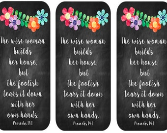 Bookmark- Proverbs 14:1 Instant Digital Download