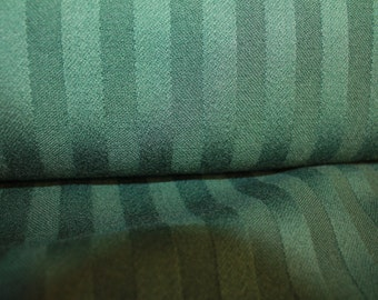 100% wool striped forest green fabric, price per yard