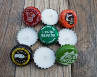 Beer Bottle Cap Tea Light Variety Eco Friendly Candles 10 Pack