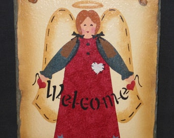 Welcome Angel Hand Painted Slate Stone Leather Vintage Wall Decor Picture