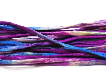 5YD. SNOW CONE 2MM or 4MM Hand Dyed Silk Cord//5YD. Hand Dyed Silk Cording //4MM & 2MM accommodate insertion of memory wire