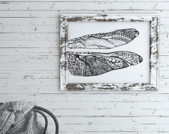 Pencil Drawing Print, Dragonfly Wall Art, Wings, Intricate, Fine Art Print, Insect Print, Nature Home Decor, Black and Grey, Minimal, Modern