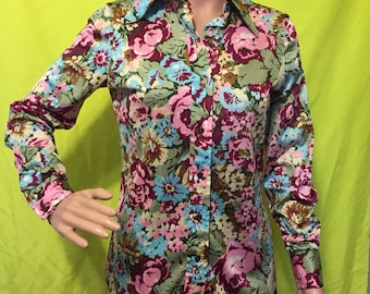 1970s Bright Floral Blouse, S