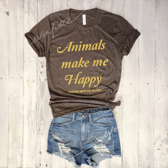 Animals Make Me Happy...Retro Unisex Triblend Tee, Graphic Tee, Funny Shirt, Vegan, Vintage Tee, 80s, Pet Lover, Peta, Introvert, Unisex by Etsy
