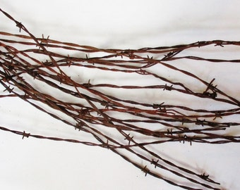 Barbed Wire Fencing, Rusted Old Fencing Wire, Twisted Metal Wire, Western Decor, Rustic Decor, Vintage Barbed Wire, 40 Feet of Barbed Wire