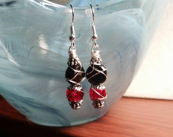 Red Wrapped Dangle Earrings