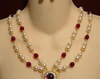 Medieval Necklace, Renaissance Necklace, Tudor Necklace, Medieval Jewelry, Renaissance Jewelry,  Lady Margery  U Pick Colors