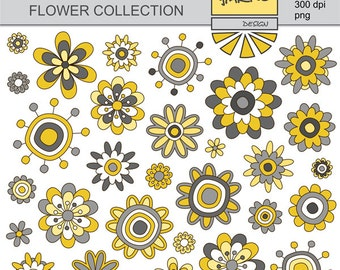 Doodle Flowers Clip Art - Yellow and Gray Floral Clip Art - Digital Clip Art - Yellow and Gray Flowers - Instant Download - YDC037