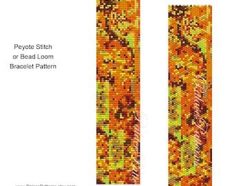Fall Delica Bracelet Pattern - Peyote Stitch and Bead Loom Bracelet Pattern