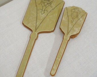 Vintage Celluloid Vanity Set - Celluloid Hand Mirror and Brush
