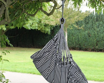 Black and White 100% cotton hammock chair