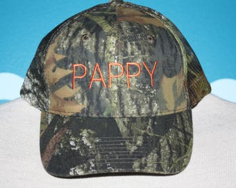 Pappy Baseball Cap - Custom Camo Ball Cap - Custom Gift - Gift for Pappy - Custom Pappy gift - Camo Baseball Cap - Camo Gift - Trucker Cap
