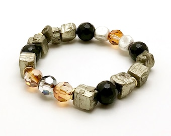 Chunky Pyrite Onyx Vintage Crystal Sterling  Silver  Bracelet     Minimalist for Her Under 150  Chunky One of a Kind Partner
