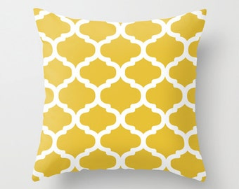Moroccan Pattern Pillow  - Mustar Yellow and White - Modern Home Decor - By Aldari Home