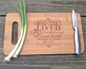 ENGRAVED Cutting Board - BAMBOO Personalized Cutting Board 14 X 7.5 And They Lived Happily Ever After Cutting Board