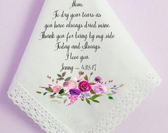Wedding Handkerchief, Mother of the Bride Handkerchief, Mom Handkerchief, To dry your tears, Printed Hankie, Hankie Gift- 59