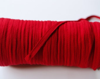 Red 3/8 Inch Cotton Twill Tape 10 yards ATN00502 flat