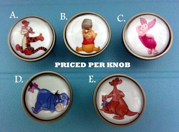Winnie the Pooh Knobs/ Bedroom Dresser Knobs / Glass Nursery Drawer ...