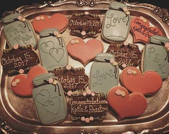 Rustic Bridal Shower - Decorated Sugar Cookies - 1 Dozen