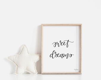 Sweet Dreams | Kids Room | Nursery Art | Handlettered | Typography | Digital Download | Printable Art | Whimsical Word Art | Bedtime Saying