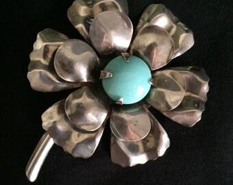 Oversized Sterling Flower Brooch / Pin