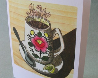 5 x 7 Notecard - A011 TEA MUG - tea card - teatime - friendship card - food card - food illustration - recycled card - thinking of you card