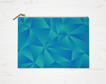 Geometric Makeup Bag, Blue Purse, Triangles Cosmetic Bag, Pattern Pouch, Small Accessory Bag, Large Toiletry Bag, Pencil Case
