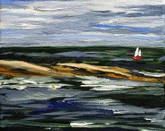 "Maine Sailing Painting ""Pemaquid"" Acrylic Canvas Original Plein Air Art Sailboat New England Artwork 6"" x 6""  Oil on Canvas Pemaquid Point"