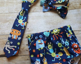 Monsters on Navy Diaper Cover and Tie Set; Monsters Cake Smash Outfit; Monsters Smash Cake Outfit; Monster First Birthday; Smash Cake Boy