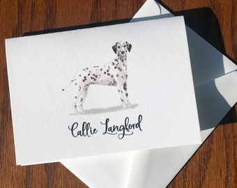 Dalmatian Personalized Stationery, great gift for dog lovers, Dalmatian stationery set 100% Cotton Savoy, custom gifts for dog lovers