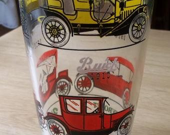 Cocktail Shaker Glass Antique Automobiles Cars Hazel Atlas 1950's + 17 Swizzles